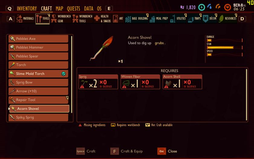 Craft Acorn Shovel In Grounded