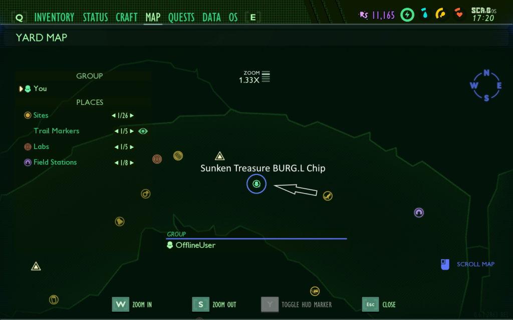Grounded Sunken Treasure BURG.L Chip Location
