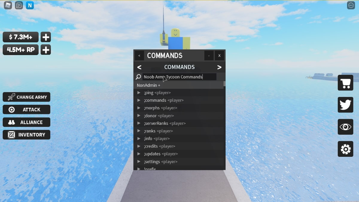 Noob Army Tycoon Commands